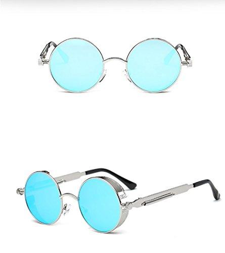 9 Gafas Retro Brillantes Sol de Gafas Reflectiva Espejo Y Unidos Color WYJL De 10 Metal De Sol Marco De Sol Estados Gafas Gafas Primavera Sol Europa Piernas Gafas Los pRwgWOAqg