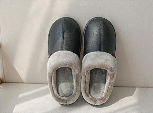 pour en Cuir Chaussures on Peluche Caoutchouc en d'hiver intérieur 005 Femmes Maison Pantoufles véritable Mules en WDGT Fourrure avec en Hommes Fausse pour Semelle Chaude Slip extérieur Doublure 6wBqF0