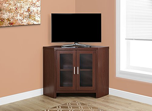Monarch Specialties Warm Cherry Corner with Glass Doors TV Stand, 42