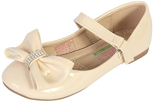 Angels New York Girls Ballerina Shoe with Memory Foam Insole, Nude Patent, 11 M US Little Kid'