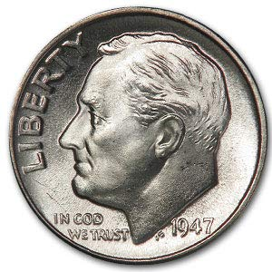 1947 D Roosevelt Dime BU Dime Brilliant Uncirculated