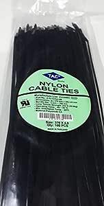 تاك مربوط كابل نايلون, 370مم الطول 4.8مم العرض, اللون الأسود, 100 حبة في الكيس