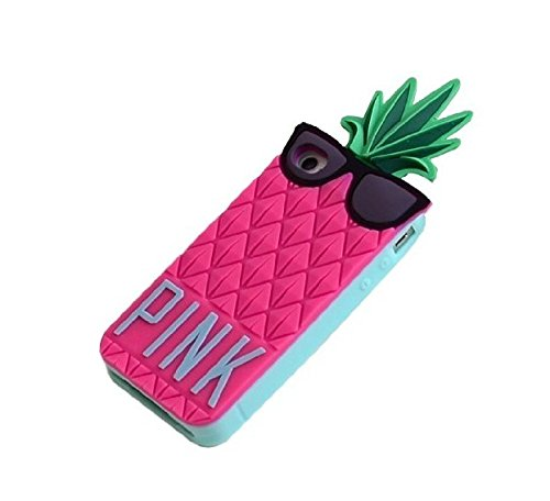 P-G-F 3D Fruit pineapple Design Soft Silicone case for iPhone 5 5S-Rose Red