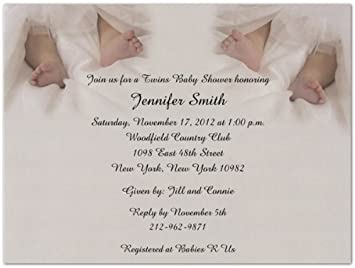 Amazoncom Twin Toes Baby Shower Invitations Set of 20 Baby