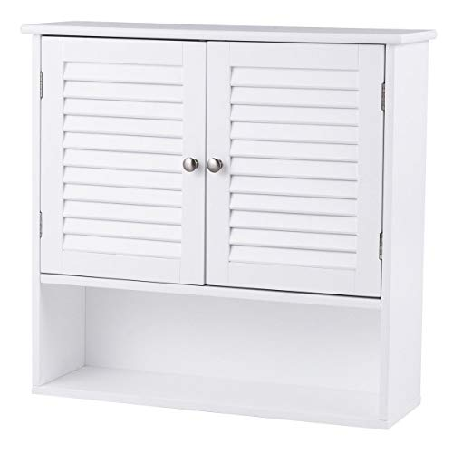 Tangkula Wall Cabinet Medicine Cabinet Wood Collection Hanging Kitchen Bathroom Storage Cabinet Organizer with Double Doors and Adjustable Shelf, White