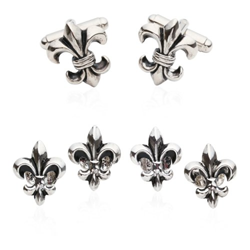 Cuff-Daddy Fleur De Lis Cufflinks and Studs in Antique Silver Tone with Presentation Box