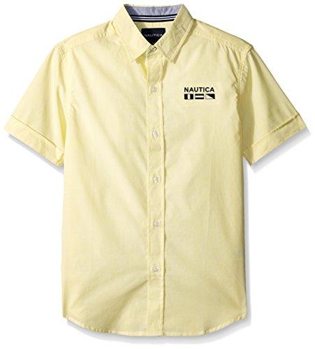Nautica Big Boys' Short Sleeve Mini Stripe Shirt, Max Firefly, Large (14/16)