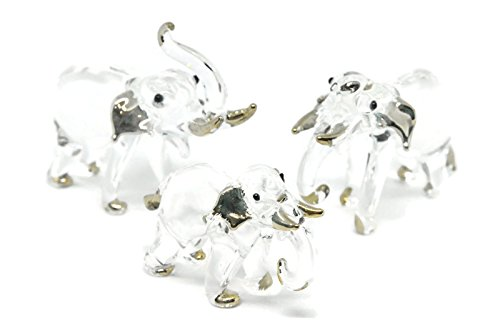NaCraftTH Thai Elephant Family Clear Glass Figurines Murano Glass Blowing Artwork Mini Handicraft Animal Figure Home Decor Gifts, Set of 3 (Elephants) ()