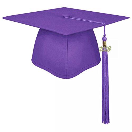 lescapsgown Unisex Adult Graduation Cap with Tassel 2019 Year Charm-Matte Purple