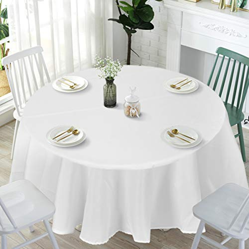 (Giantex 10 Pcs Round White Tablecloth 90-Inch, Premium Polyester Table Cover, Machine Washable, Durable Table Cloths for Wedding Reception Restaurant Banquet Party (White, 120''))