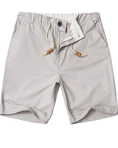Price comparison product image Lende Men's Linen Casual Classic Fit shorts Beach shorts (S,  Grey button)