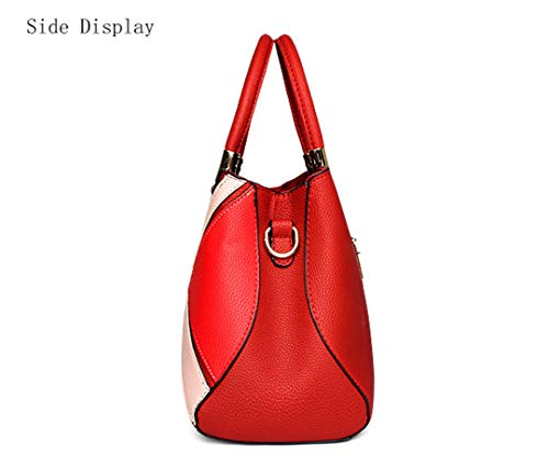 Fashion Rubber Handbag Pu Patchwork Leather New Soft Lady Pink ZnqHZfr64w