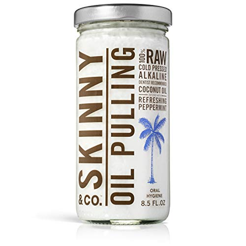 (SKINNY and CO. 100% Raw Oil Pulling Peppermint Coconut Oil for Healthier Teeth and Gums (8.5 Oz))