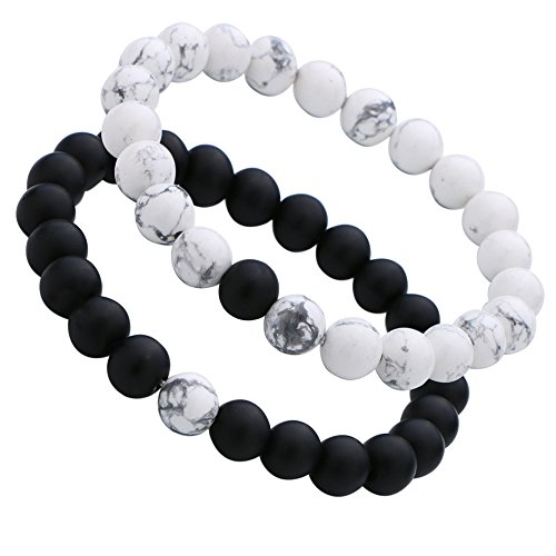 Couples His & Hers Bracelet Black Matte Agate & White Howlite 8mm Beads 7.1