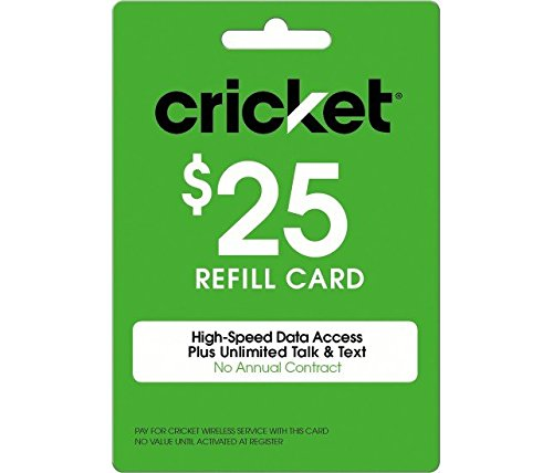 Cricket Refill Card $25 Cricket Wireless Refill Card $25 by Fast Card