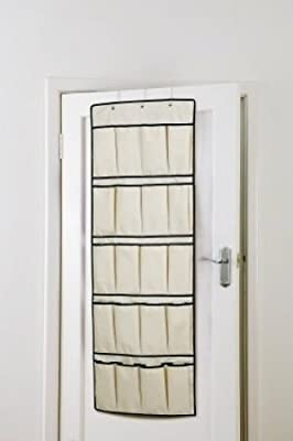 H /& L Russel 20 Pocket Cream Over Door Shoe Organizer Tidy Hanging Storage Unit