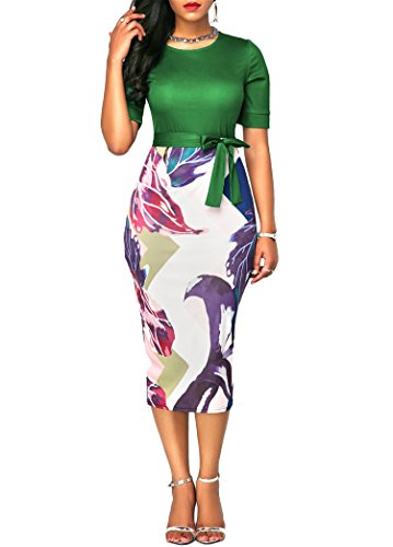 Party Dress for Women Business Dress Color Block with Belt Green Large (Chic Party Dresses)