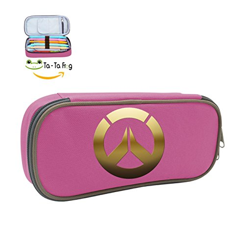 Big Capacity Canvas Pencil Case Holder Portable Print With  Over Watch  Logo Pink