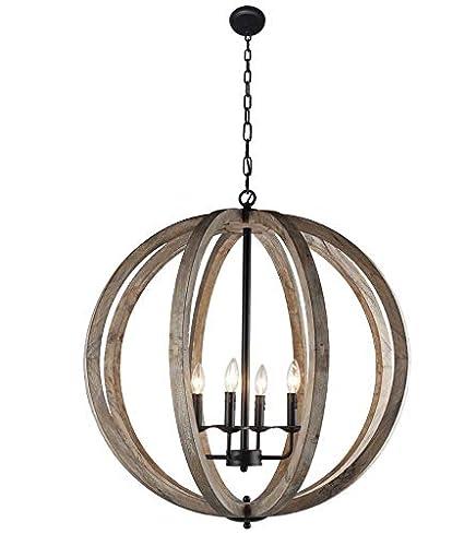 Ambiance Comfort 30 Vintage Pendant Orb Chandelier Light Wood Frame Iron Band Sphere 4 Lamps Globe Ceiling Light Fixture