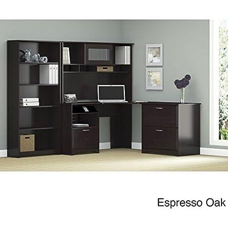 Cabot Corner Desk With Hutch Lateral File Cabinet And 5 Shelf Bookcase In Espresso Oak