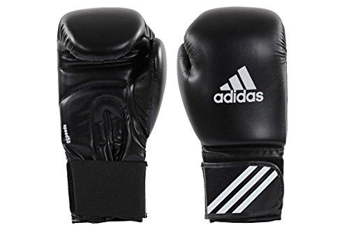 ADIDAS® Boxhandschuhe Speed 50 schwarz/weiß, 10 Unzen, Box-Handschuhe, Boxhandschuh Glover, Leder - PU, UZ OZ, Damen Herren Vollkontakt Boxen Kickboxen Muay Thai Thaiboxen MMA K1 K-1 Grav Maga