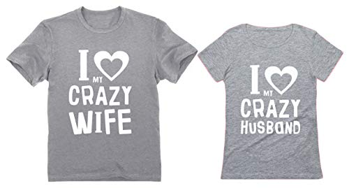 Funny Husband & Wife Couples Gift Anniversary/Newlywed Matching Set T-Shirts Man Gray XX-Large/Woman Gray X-Large -