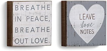 Demdaco Spiritual Rustic White 6 x 6 Fir Wood Sign Plaque Wall Art Assorted Set of 2