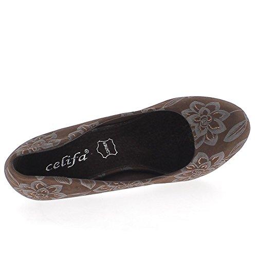 Braune Schuhe gemusterten grauen Blumen und Reflexionen zu 11,5 cm Plateau heels