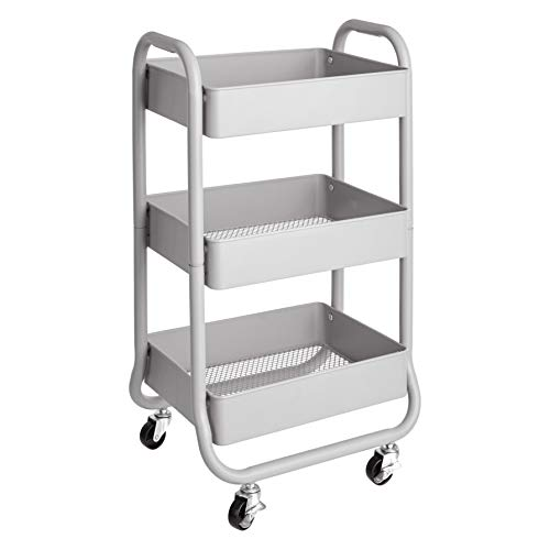 c9f2f48249ec AmazonBasics 3-Tier Metal Rolling Storage Cart and Organizer, Grey