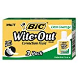 BIC® Wite-Out® Extra Coverage Correction Fluid FLUID,CORRECTION,3/PK,WE 30402 (Pack of20)