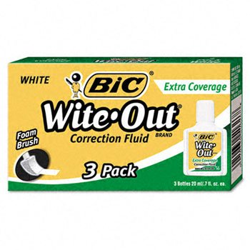 BIC® Wite-Out® Extra Coverage Correction Fluid FLUID,CORRECTION,3/PK,WE 30402 (Pack of20) by BIC (Image #1)