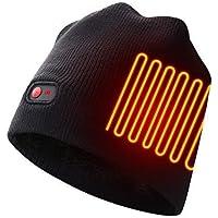 Autocastle Rechargeable Electric Warm Heated Hat Winter Battery Skull Beanie,Black,3 Heat