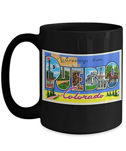 Greetings from Pueblo Colorado, Vintage Large Letter Postcard Design: Ceramic Coffee Mug