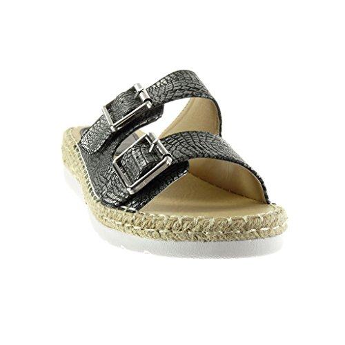 Angkorly - Scarpe da Moda sandali Espadrillas suola di sneaker donna pelle di serpente coccodrillo corda Tacco zeppa 3.5 CM - Nero