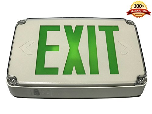 Location Led Exit Sign (Green LED Compact Outdoor Exit Sign For Wet Location With Battery Backup)