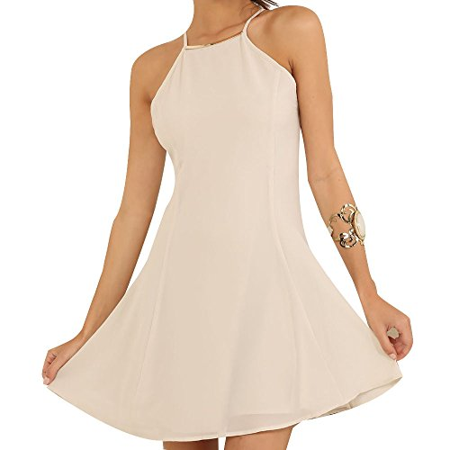 Eliacher Women's Casual Chiffon Strap Dress 6526 (L, (Straps Chiffon Dress)