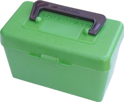 MTM 50 Round Deluxe Handled Rifle Ammo Case Magnum Belted .264 - .458 Win. Mag (Green)
