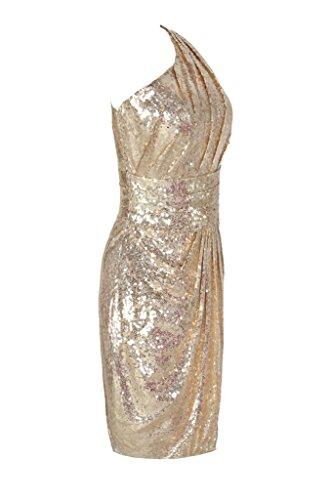 Gold Dress Shoulder Prom Sequins Bridesmaid Women's Dressever Cocktail One Dress Short aqxvwEX