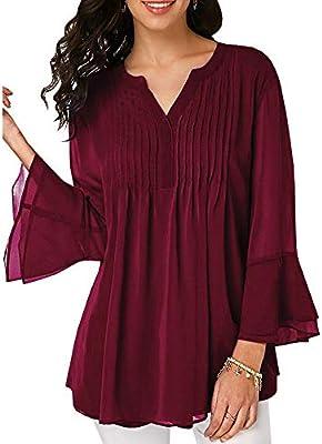 Niña otoño fashion,Sonnena ❤ Blusa de gasa casual de las mujeres de verano de verano Camiseta de manga larga con cuello en V Blusa de tirantes de moda