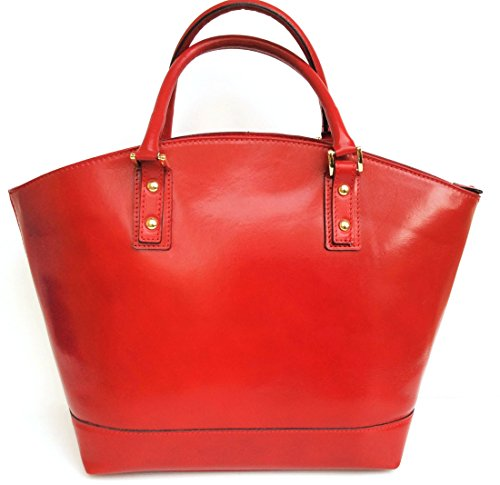 Basket Model Italy Handbag bag in Giulia Red Tote Leather Genuine Superflybags Smooth Women's Made Bag wFxqZOfg0O
