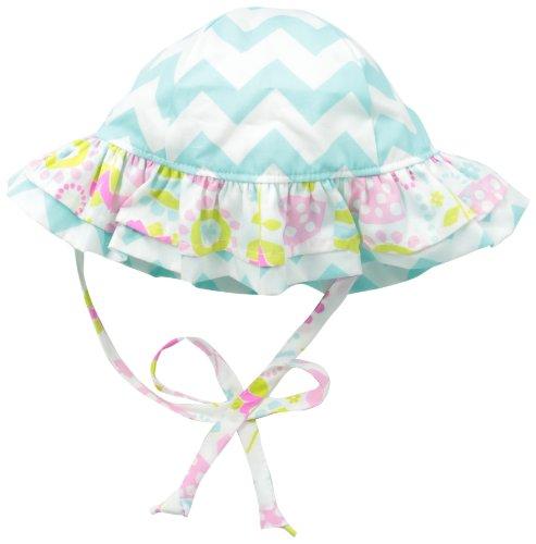 Flap Happy Baby Girls' Upf 50+ Double Ruffle Hats, Seafoam Chevron Stripe, Small