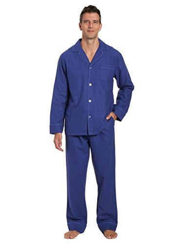 - Men's Premium Flannel Pajama Set - Windowpane Checks - Navy Blue - Large