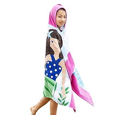 Boys Girls Hooded Poncho Beach Towel - Kids Cotton Bathrobe Swim Bath Blanket