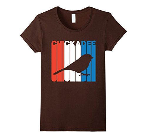 Womens Retro RWnB Chickadee Silhouette T-Shirt Small Brown