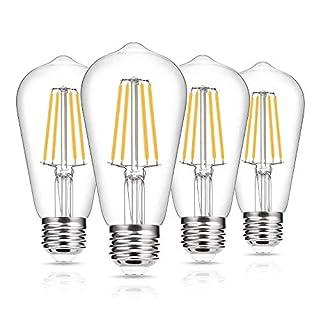 Vintage Edison Bulb 60W Equivalent, DORESshop Dimmable 7W ST58 Antique LED Filament Light Bulb, Warm White 2700K, E26 Base Squirrel-Cage Antique Lamp for Home Decor, Reading Room, 4Pack