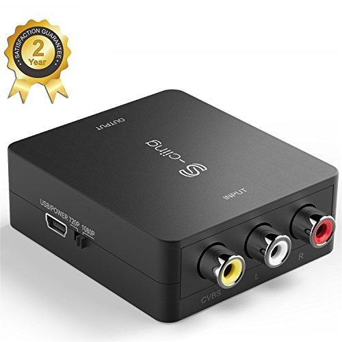S-ciing RCA Composite CVBS AV to HDMI Video Audio Converter AV2HDMI Adapter Mini Box Support 1080P for TV/PC/PS3/Blue-Ray DVD,Black