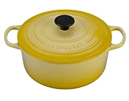 Le Creuset Signature Soleil Enameled Cast Iron 5.5 Quart Round French Oven with Free Oven Mitt