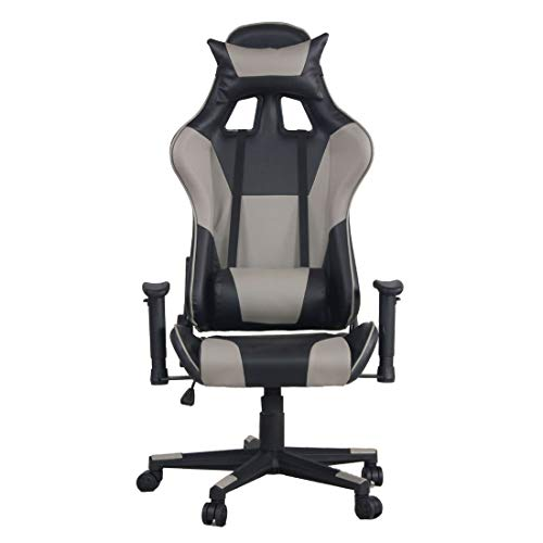 360 Degree Swivel Streamlined Leather Office Chair High Back Lift Racing Chair Adjustable Home College Dorms Furniture - Grey Formulaone
