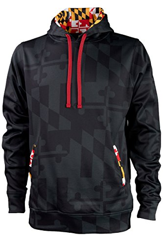 Maryland Printed Adult-Sized Hoody with Front Kangaroo Pockets and Hidden Media Player Pocket