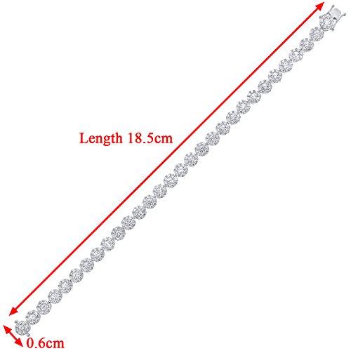 Revoni Bague en or blanc-18carats Bracelet de Tennis de diamant, diamant G/SI118,5cm Longueur